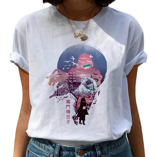 t shirt femme demon slayer nezuko humaine 160