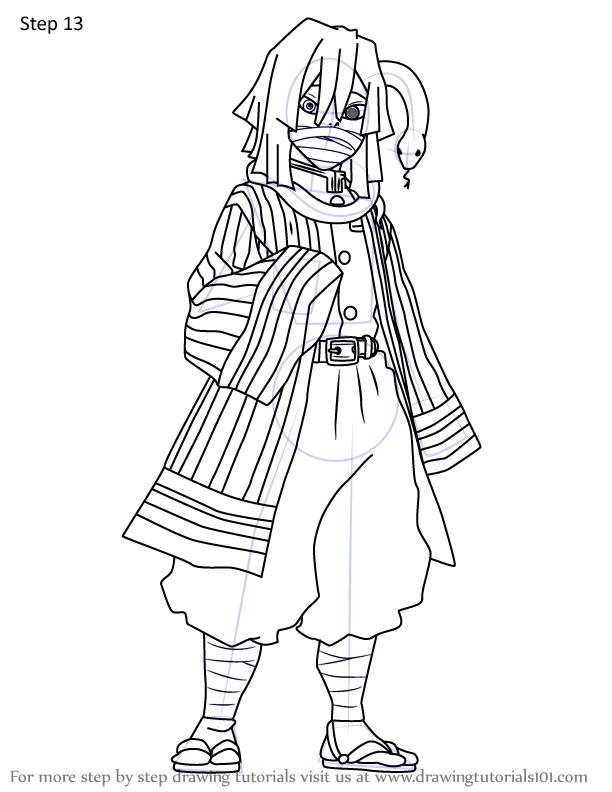 Comment dessiner Iguro Obanai Demon Slayer 13