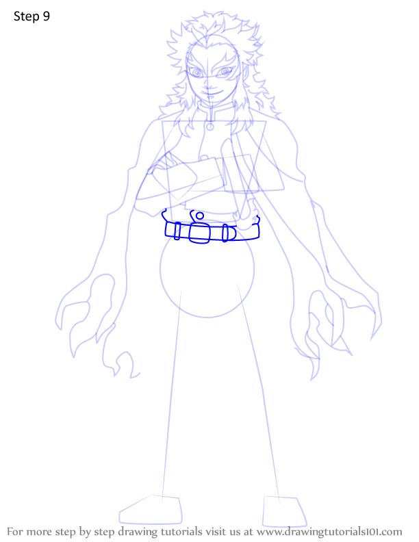 Comment dessiner Kyojuro Rengoku Demon 9