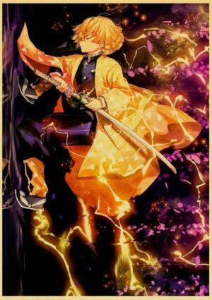 A4 A3 Anime pogromca demon w kimetsu no yaiba tanjirou nezuko anime plakat z papieru pakowego.jpg 640x640