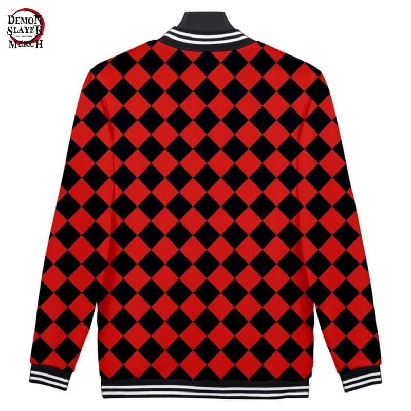 red and black varsity jacket demon slayer merch 919