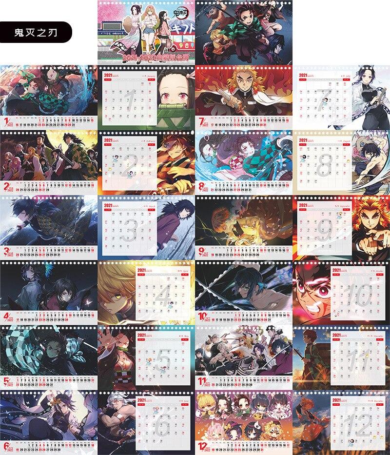 Calendrier de bureau du dessin anim Demon Slayer Kimetsu no Yaiba calendrier quotidien avec personnage du
