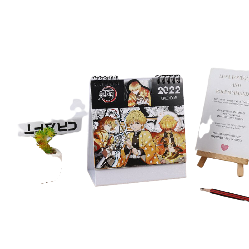 Calendrier imprim Demon Slayer accessoires de bureau mignon dessin anim Agatsuma Zenitsu Kamado Nezuko 2022 3 removebg preview